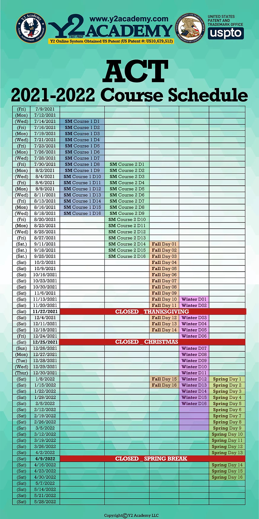 ACT test 2021-2022 Course schedule Y2 Academy