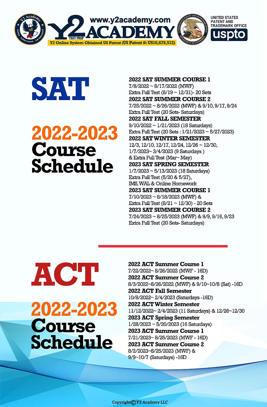 SAT and ACT Test 2022-2023 Course Schedule