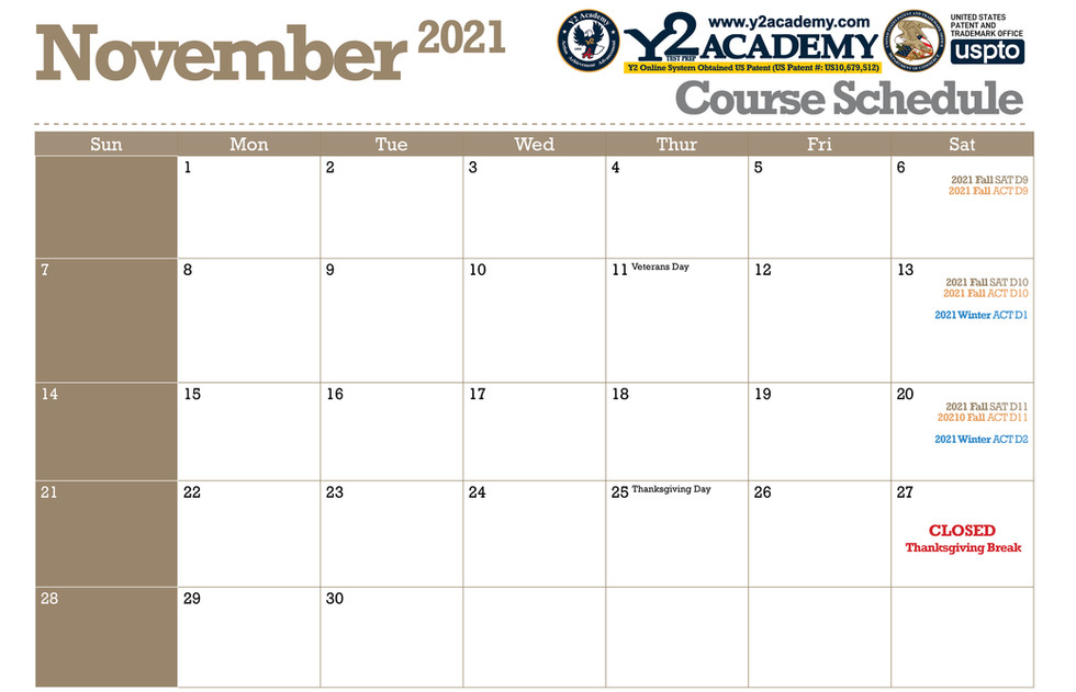 ACT SAT Test Prep Course schedule for November 2021