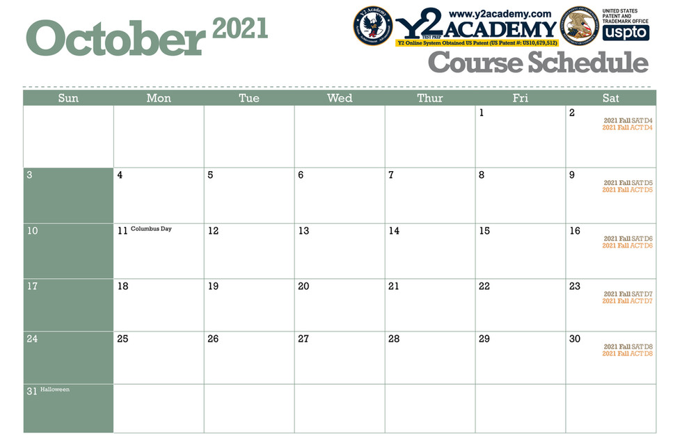 ACT SAT Test Prep Course schedule for October 2021