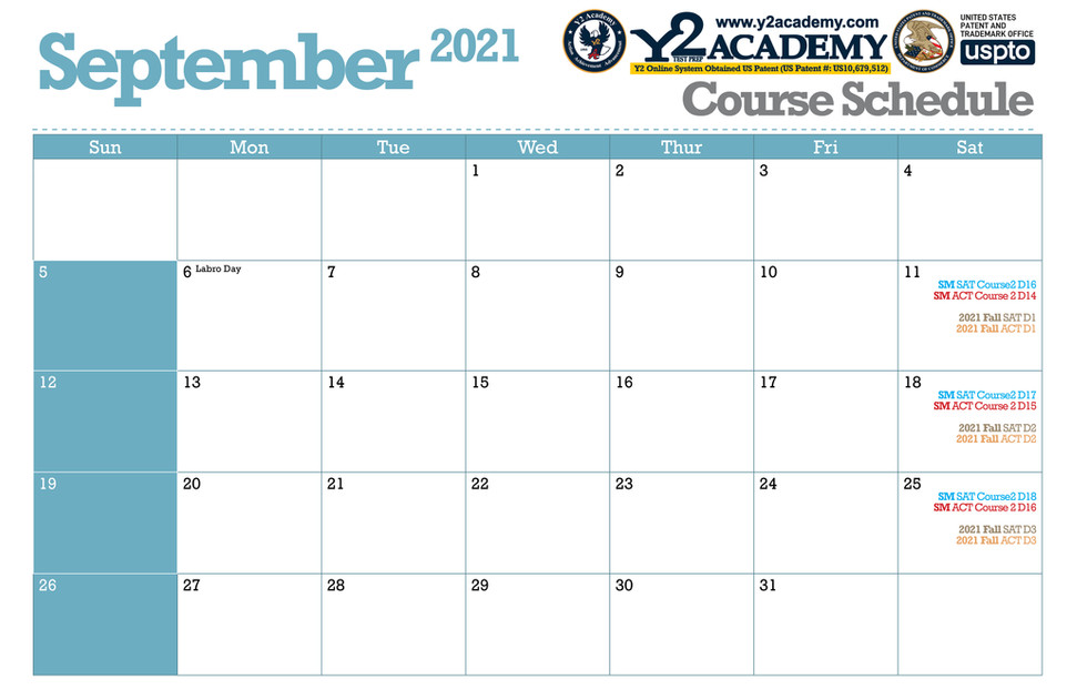 ACT SAT Test Prep Course schedule for September 2021