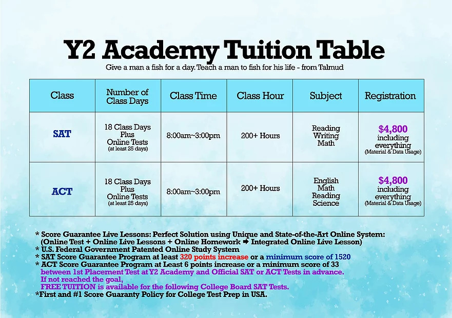 Tuition Table 2021 Y2 Academy SAT ACT Test Prep